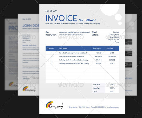 Best PSD Invoice Templates For Freelancer Web Graphic - Corporate invoice template