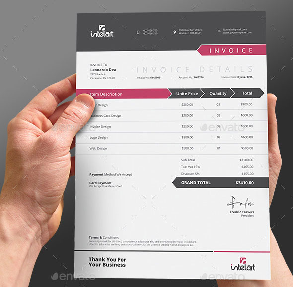 Best Psd Invoice Templates For Freelancer  Web  Graphic