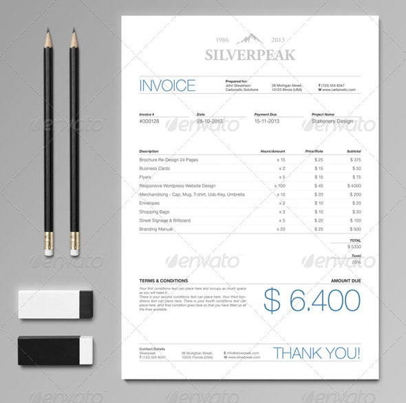 Silverpeak Stationery Set & Invoice Template