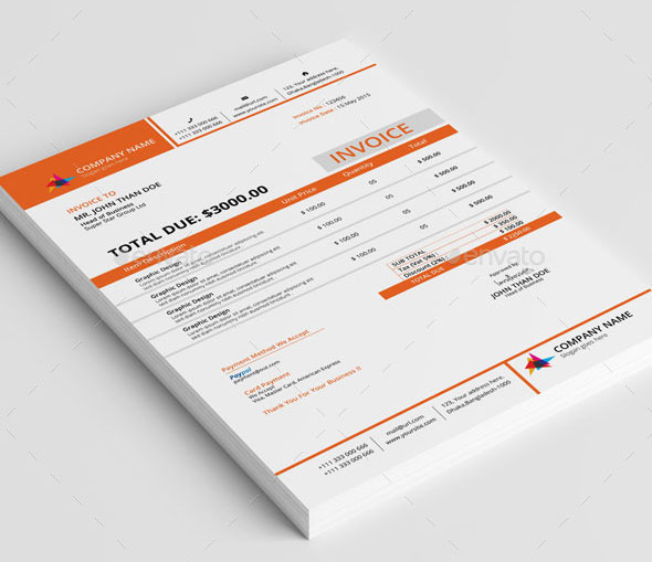 Clean Invoice With MS Word. Download  Template For Invoice Free Download