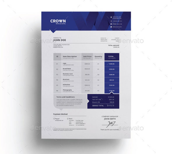 Crown Invoice & Letterhead