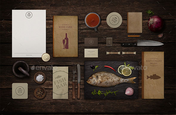 Restaurant Fish Bar Identity Mock-Up