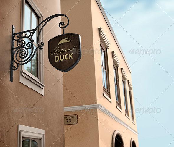 Wine Bar / Restaurant Signboard Mock-Up