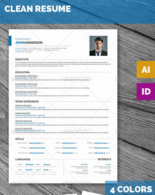 25 best simple photoshop  u0026 indesign resume templates