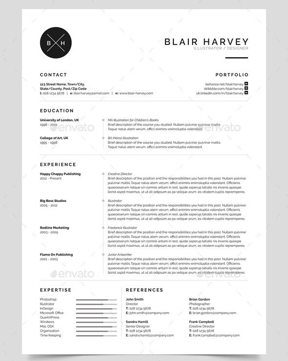 25 best simple photoshop  u0026 indesign resume templates  u2013 bashooka