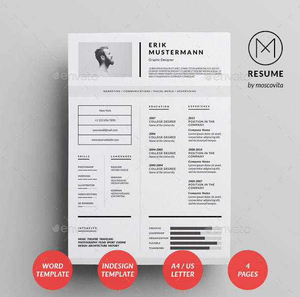 25 Best Simple Photoshop InDesign Resume Templates Bashooka