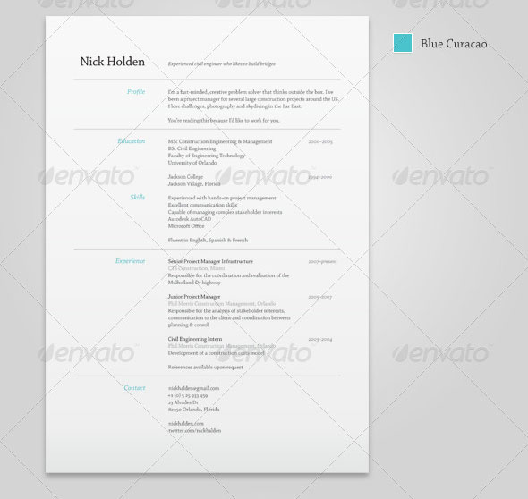 25 best simple photoshop indesign resume templates web