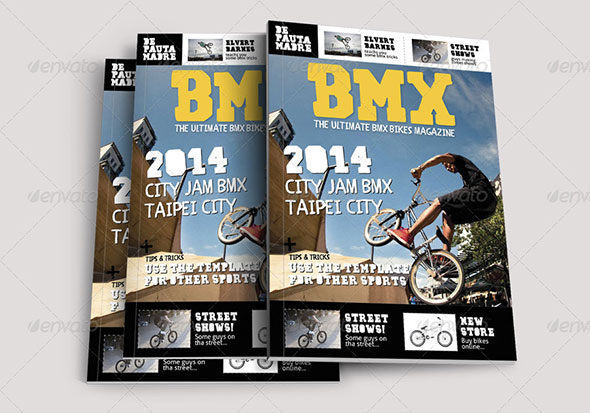 Bmx Bikes Sports Magazine Template for Print