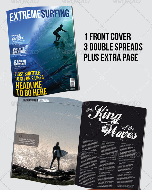 Surfing Magazine - 8 page - 4 layouts