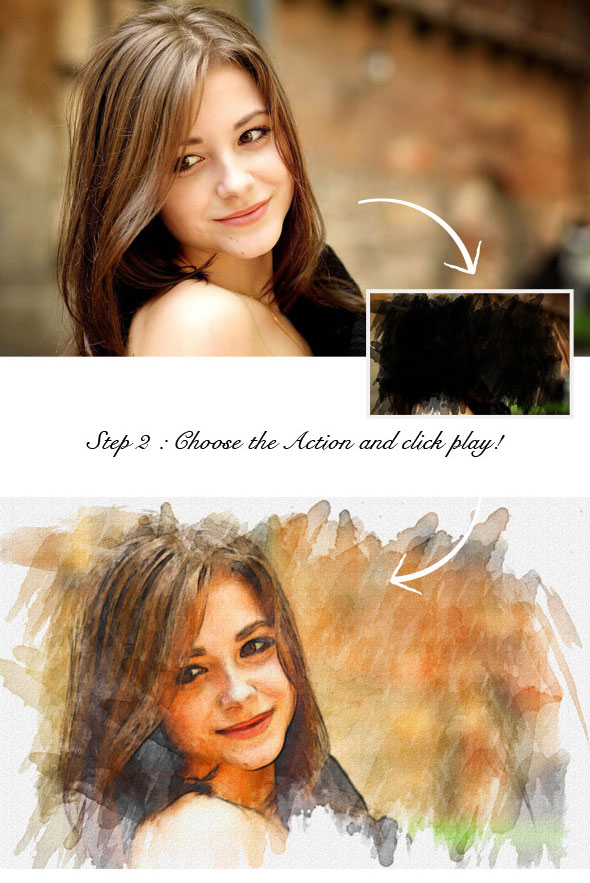 25 Artistic Watercolor & Sketch Effect Photoshop Actions