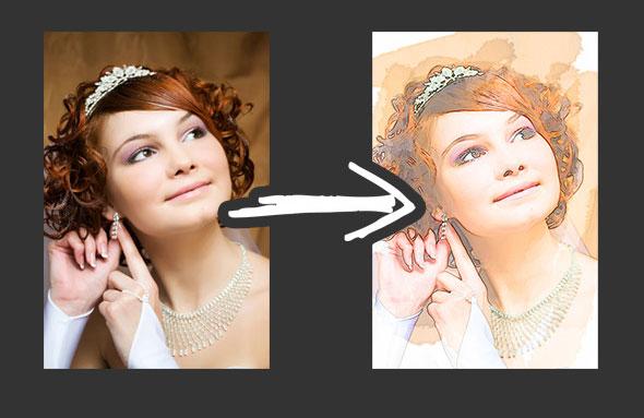 25 Artistic Watercolor & Sketch Effect Photoshop Actions – Bashooka