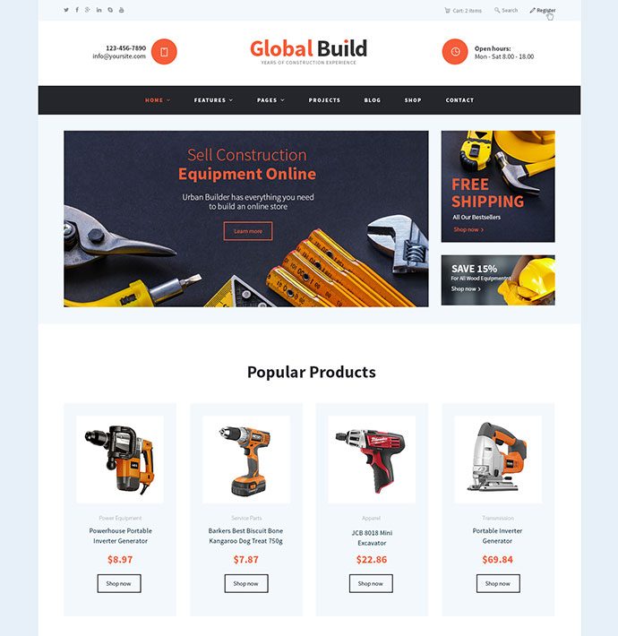 Global Build | Construction WordPress Theme