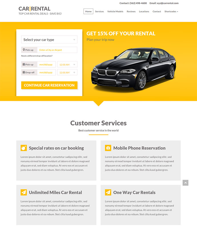 Car Rental WordPress Theme Lnading Page