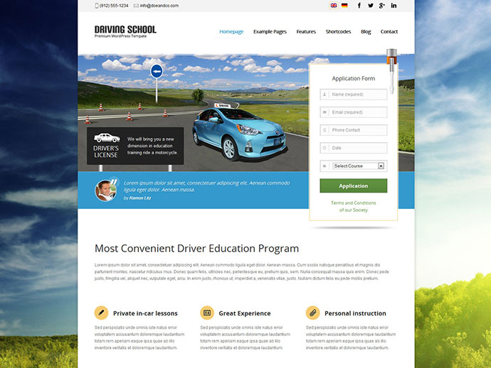 Driving School WordPress Theme for Small Business