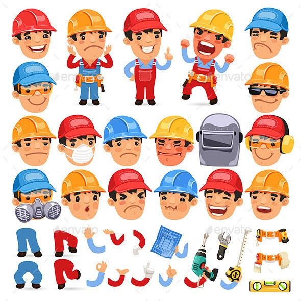 Set of Cartoon Worker Characters
