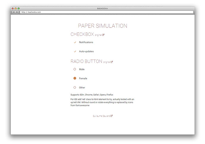 Paper simulation of checkbox and radio button