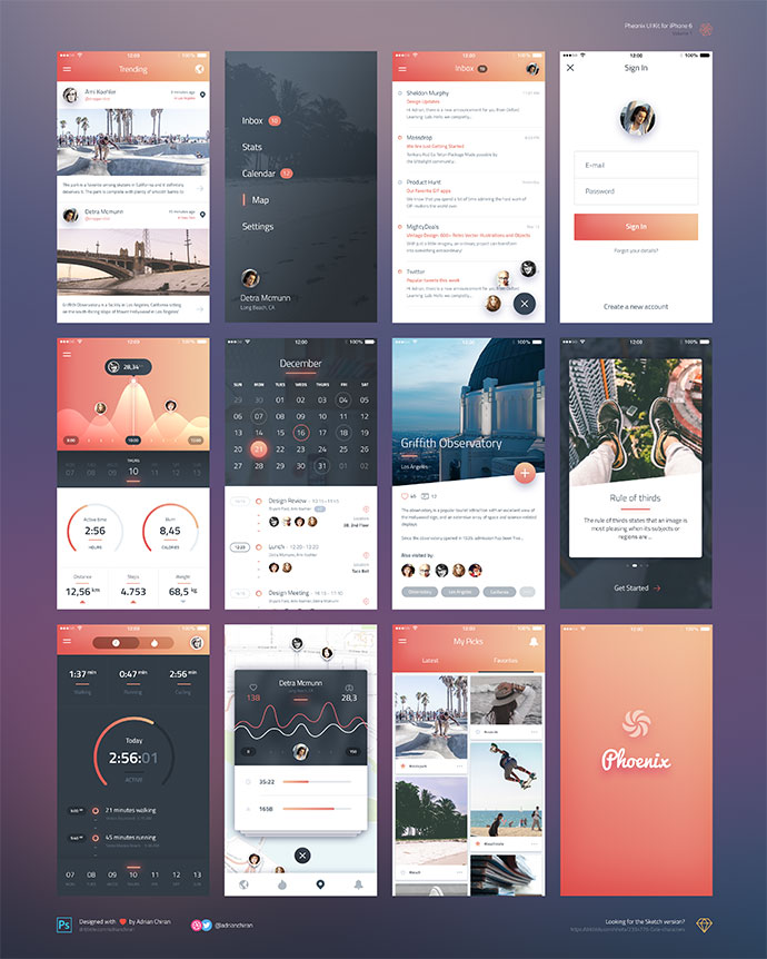 Phoenix UI: Vol 1 -  for iPhone 6 / Free PSD & Sketch by Adrian Chiran