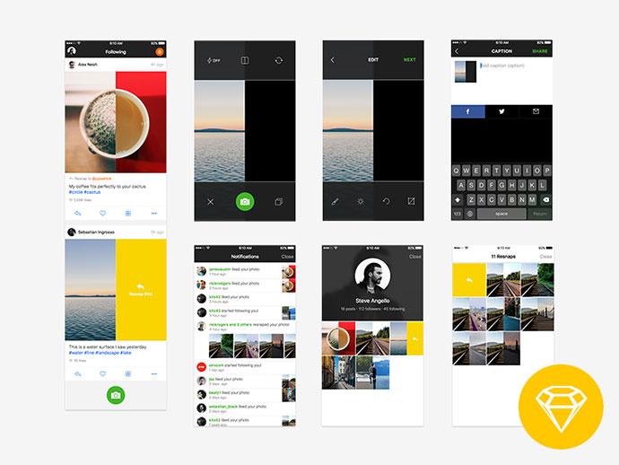Resnap iOS App UI (Freebie) by Ales Nesetril