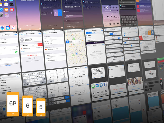 iOS 9 Complete UI (free PSDs for iPhone 5, 6 and 6 Plus) by Oz Pinhas