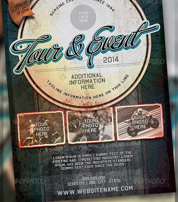 Vintage Grunge Auto Event Flyer Template