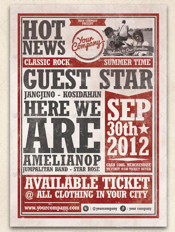 Vintage Classic Rock Music Flyer