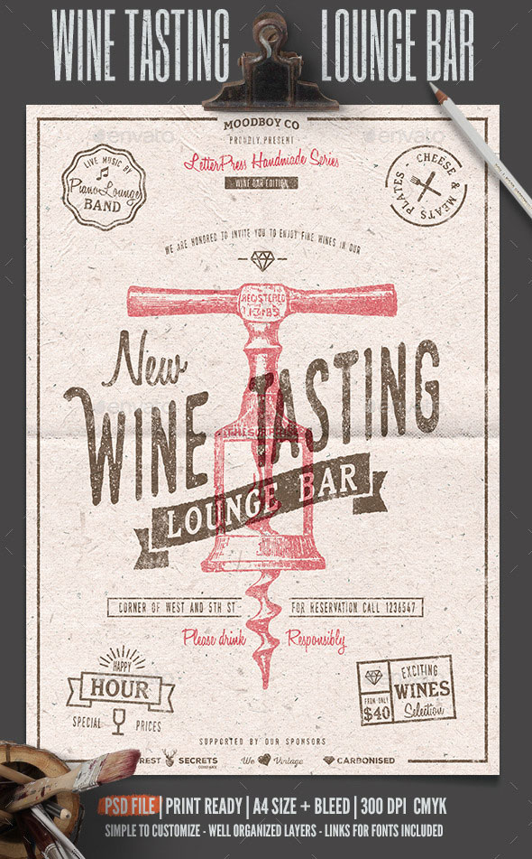 Wine Tasting Lounge Flyer/Poster