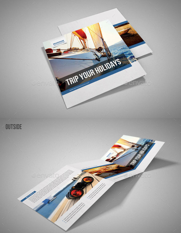 Yacht Boat Sailing Square 3-Fold Brochure 01