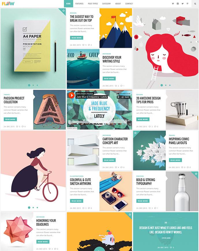 Magazine & Blog WordPress Themes With Card UI