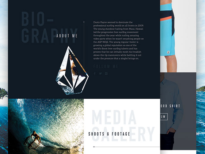 Volcom Website Concept by Nathan Riley