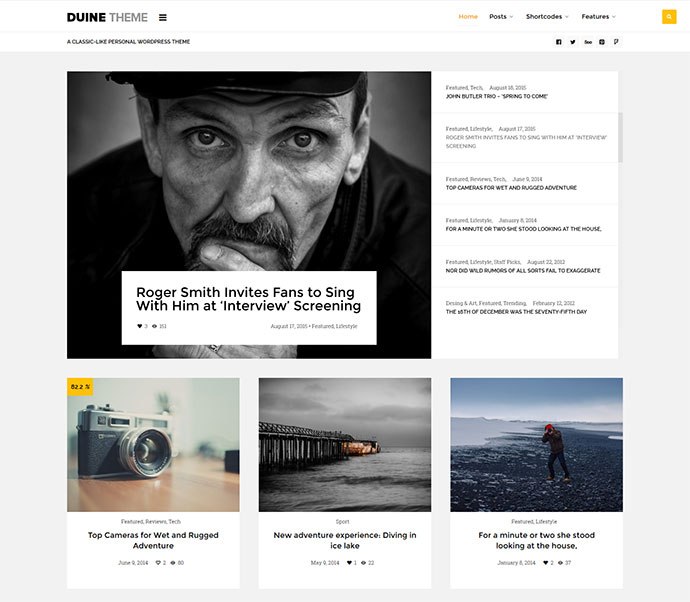 Duine - A Responsive WordPress Blog Theme