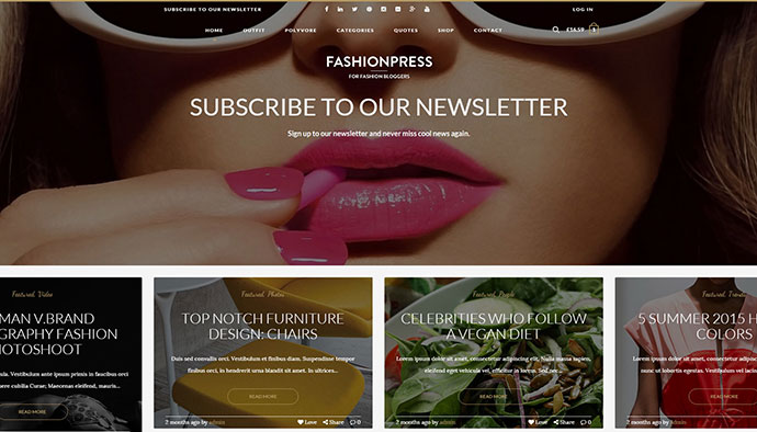 FashionPress - WordPress Theme for Fashion Bloggers - Responsive and Creative Blog Template