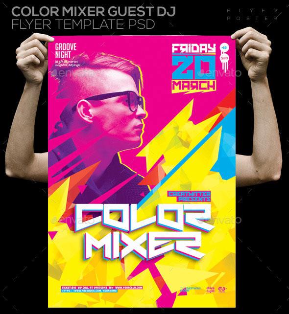 Color Mixer Guest Dj Template PSD Poster/ Flyer