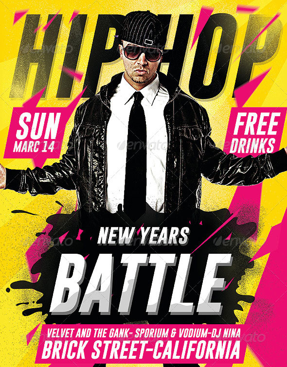 Hip Hop New Year Battle - Psd Flyer