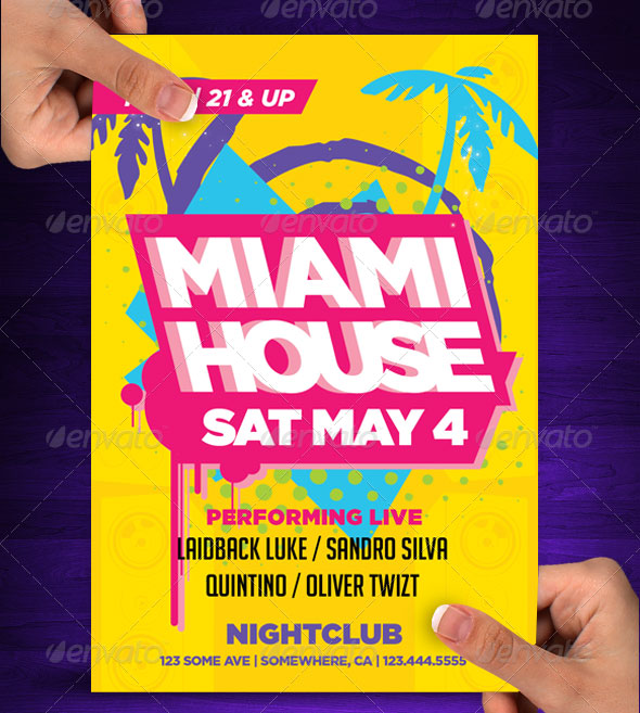 Miami House Party Flyer