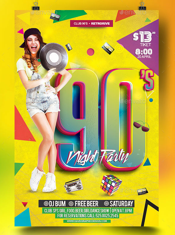 Flyer 90's Night Party