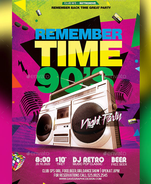Flyer Remember Time 90's - Disco Night Party