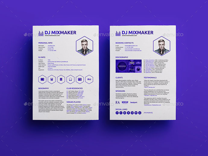 MixMaker - DJ Resume / Press kit PSD Template
