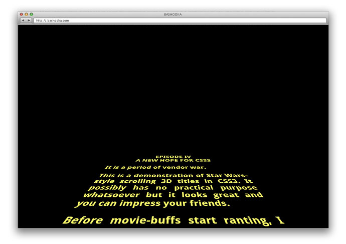 Star Wars 3D Scrolling Text in CSS3