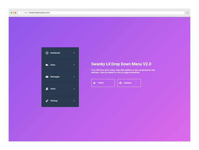 Swanky Pure CSS Drop Down Menu V2.0