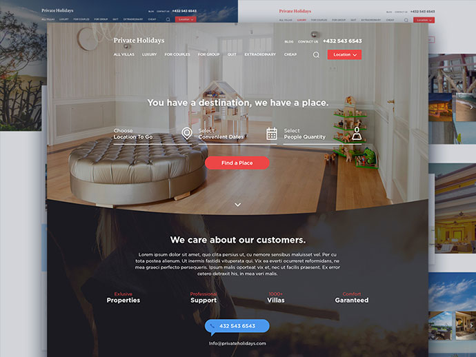 Private Holidays Website by Fireart Studio