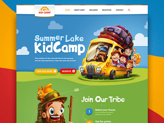Kidcamp website by Inkration