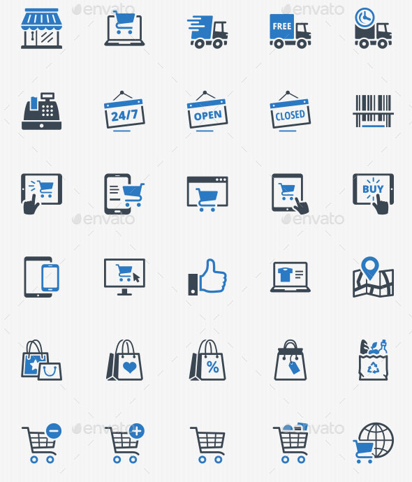 E-commerce Icons - Blue Series