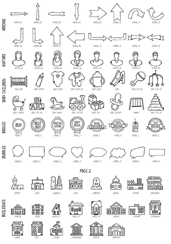 1000 Hand Drawn Icons & Papercuts