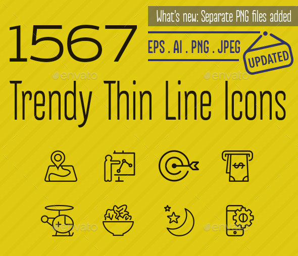 1567 Trendy Thin Line Icons