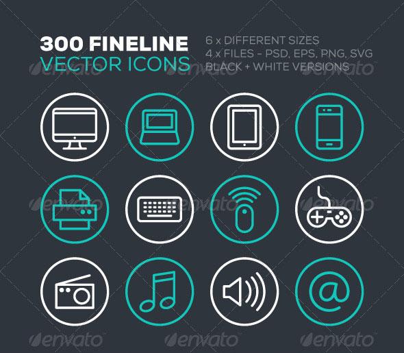 300 Fine Line Icons