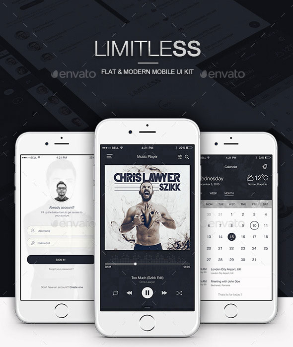 Limitless - Flat & Modern Mobile UI Kit