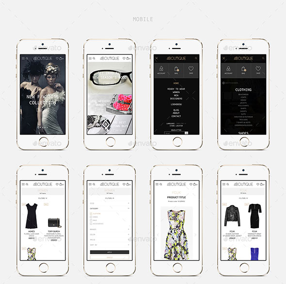4Boutique - A Responsive Ecommerce Web UI KIT PSD