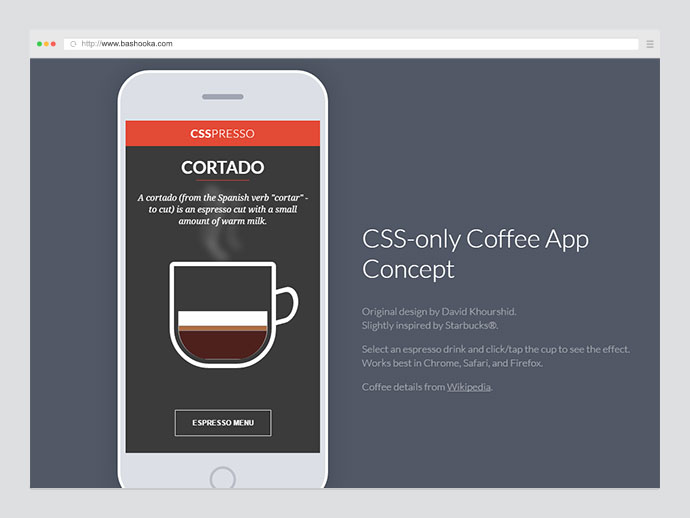 CSS-only Coffee App Concept