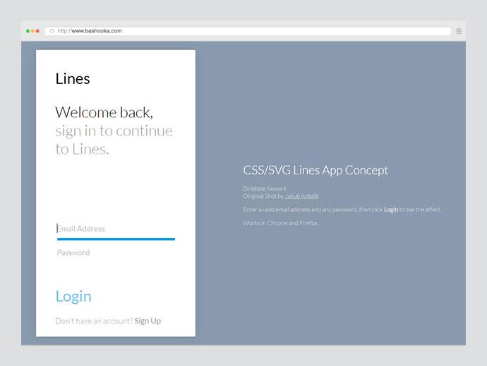 CSS/SVG Lines App Concept
