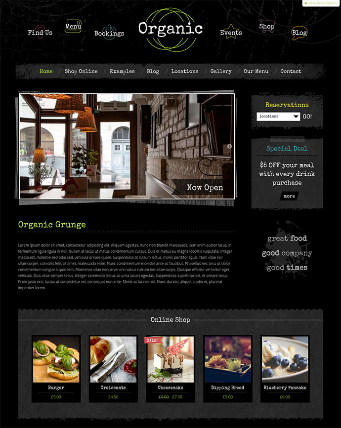 Organic Grunge Cafe - WordPress